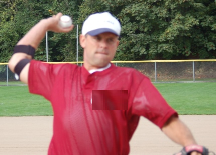 Jeff Cirillo image showing arm cocking external rotation with horizontal shoulder adduction wearing the ThrowMAX